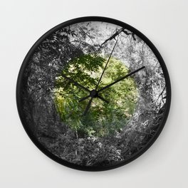 Abstract Forrest, Large Modern Wall Art, Green and Black and White, Circles, Nature Wall Clock