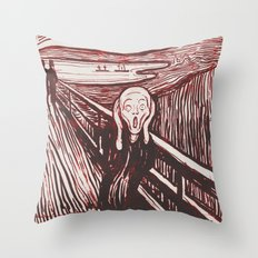 The Scream's Haze (red) Throw Pillow