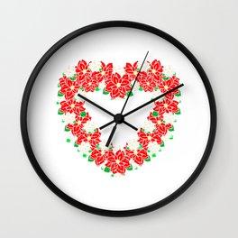 Pretty Holiday Poinsettia Christmas Gift Wall Clock