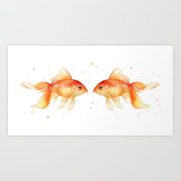 Goldfish Love Watercolor Fish Painting Art Print