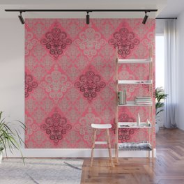 red&grey Baroque Pattern on gentle raspberry Wall Mural