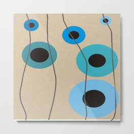 Circles Upon Circles in Blue Metal Print