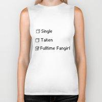 fangirl Biker Tanks featuring fulltime fangirl by Sara Eshak