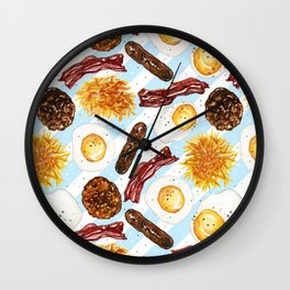American Diner Breakfast on Blue Wall Clock