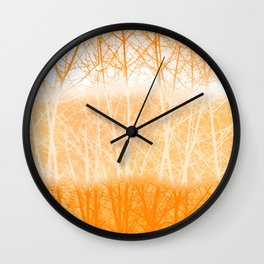 Frosted Winter Branches in Dusty Orange Wall Clock
