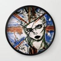 uk Wall Clocks featuring UK by Thomasine