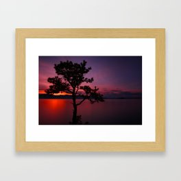 Purple and Red Montana Sunset over Flathead Lake Framed Art Print