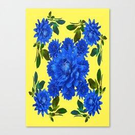 Decorative Blue-yellow Blue Dahlia-Leaves Art Abstract Canvas Print