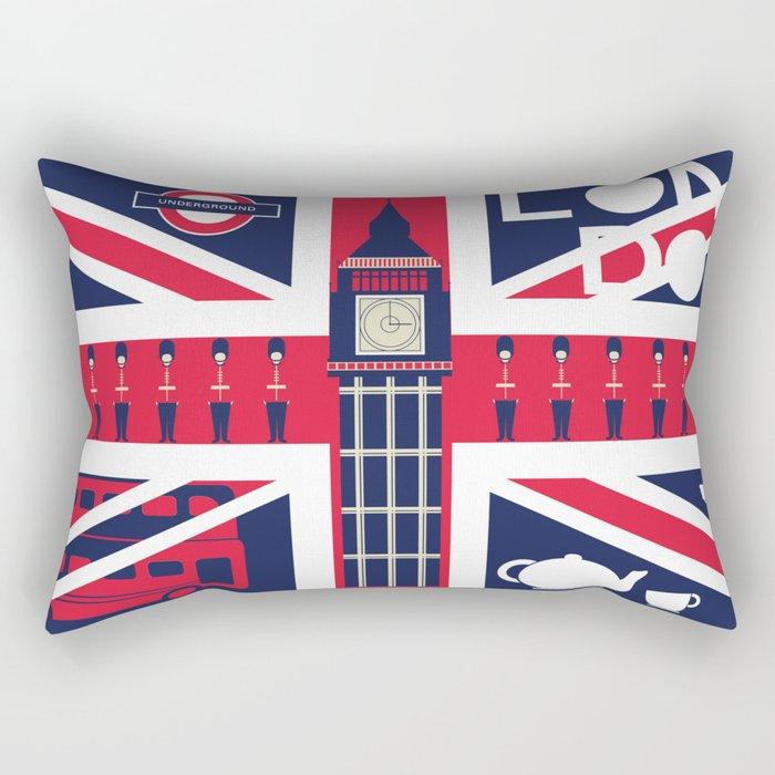 Vintage Union Jack UK Flag with London Decoration Rectangular Pillow