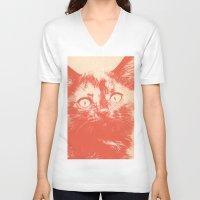 kitten V-neck T-shirts featuring KITTEN by Allyson Johnson