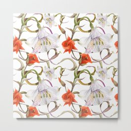 Watercolor floral seamless pattern by alstroemeria and calochortus Metal Print