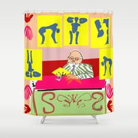 matisse Shower Curtains featuring matisse at work by ALDO AAB