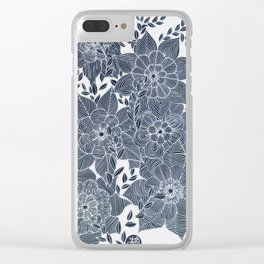 Zentangled Flowers Clear iPhone Case