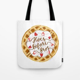 Hoes Before Bros Waffle Tote Bag