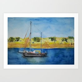 Boat in Fuerteventura´s island Art Print