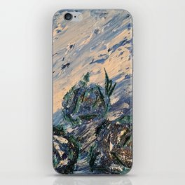 Blue flowers of the mist iPhone Skin