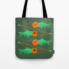 fishes and flowers color option Tote Bag