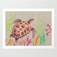 Tan Sea Turtle Art Print