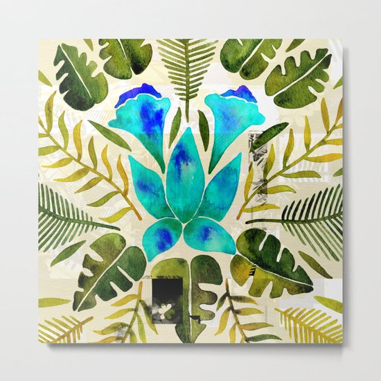 Tropical Symmetry – Turquoise & Olive Palette Metal Print