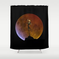 jack skellington Shower Curtains featuring NIGHTMARE JACK SKELLINGTON by alexa