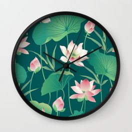 Seamless pattern lotus flowers and leaves Wall Clock