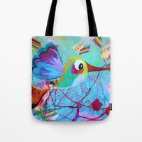 hemingway Tote Bags featuring Hemingway - Quirky Bird Series by Hyla Zest