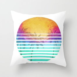 Vintage Retro 80's Synthwave Sunset Palms Throw Pillow