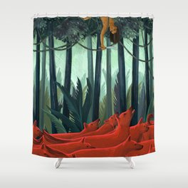 Red Dogs Shower Curtain