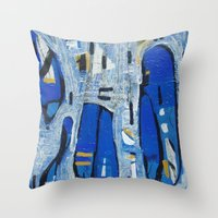 talking heads Throw Pillows featuring Talking Heads by Randall Sokoloff