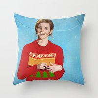 emma watson Throw Pillows featuring xmas watson by the penguin