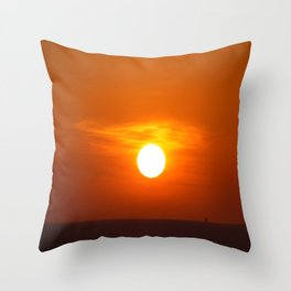 Red sunset on the sea Throw Pillow