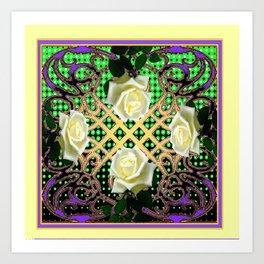 ORNATE ITALIAN STYLE WHITE ROSES Art Print