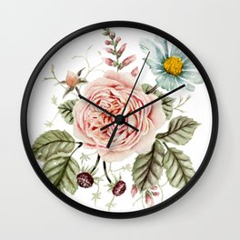 Rose and Foxglove Watercolor Florals Wall Clock