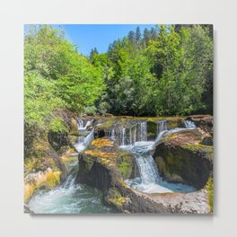 Rock erosion from waterhole with waterfall in middle of forest Metal Print