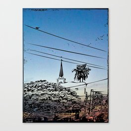 over smal trown the sunset Canvas Print