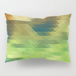 Green yellow triangle pattern, lake Pillow Sham