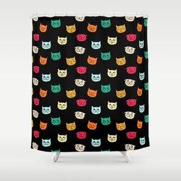 Cat heads on black Shower Curtain