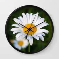 daisies Wall Clocks featuring Daisies by Rose Etiennette