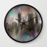 skyline Wall Clocks featuring Skyline by Rafael&Arty