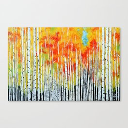 Autumn, Aspen Trees Bright Colorful Yellows, Reds, and Orange. Canvas Print