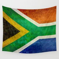 south africa Wall Tapestries featuring National flag of the Republic of South Africa by Bruce Stanfield