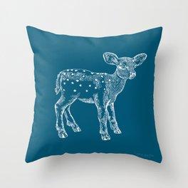 Dear Deer, Steel Blue Fawn Throw Pillow