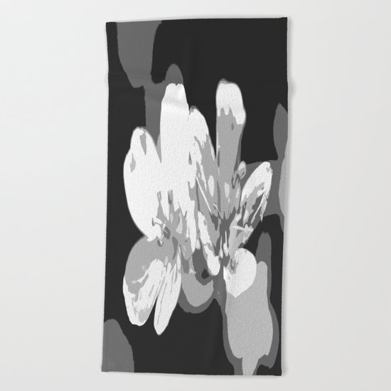 Retro Flowers in Black and White Beach Towel