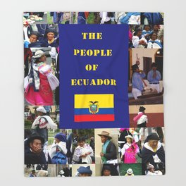 The People of Ecuador, Collage Throw Blanket