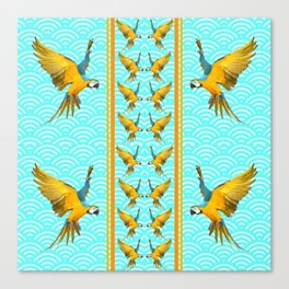 GOLD & BLUE TROPICAL MACAWS VERTICAL ART Canvas Print