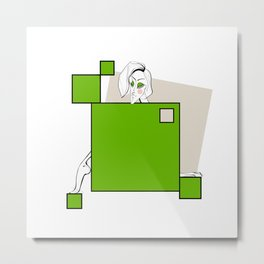 Paper doll with green squares Metal Print