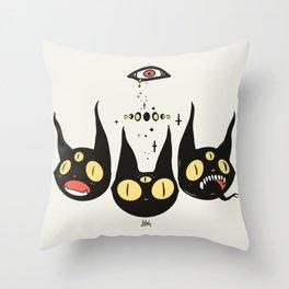 Three Strange Cat Heads. Gothic Dark Art Throw Pillow