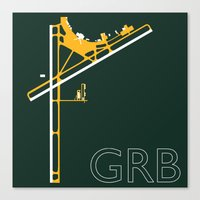packers Canvas Prints featuring Green Bay (GRB) - Packers by Kyle Rodgers