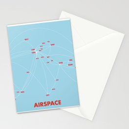 Air route and airport hub Airspace map Stationery Cards
