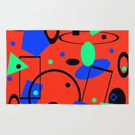 Retro abstract red print Rug